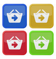 four square color icons shopping basket next vector image vector image