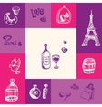 France and Paris Squared Doodle Concept vector image vector image