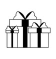 gift boxes present cartoon isolated in black and vector image vector image