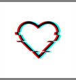 glitched symbol heart in glitch style vector image vector image