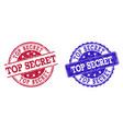 grunge scratched top secret stamp seals vector image