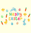 happy easter cute banner with colored ornate eggs vector image vector image