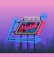 hotel is a neon sign retro vector image
