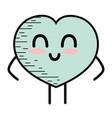 kawaii cute happy heart love vector image vector image
