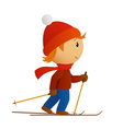 little skier in red hat vector image vector image