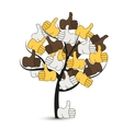 modern thumbs up tree on white vector image vector image