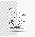 money bag dollar growth stock line icon on vector image vector image