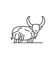 mountain bull line icon concept mountain bull vector image