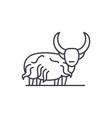 mountain bull line icon concept mountain bull vector image vector image
