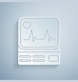 paper cut computer monitor with cardiogram icon vector image vector image