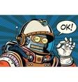 retro robot astronaut gesture OK vector image vector image