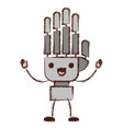 robot hand cartoon kawaii in colorful blurred vector image vector image