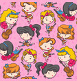 rockabilly girl band playing guitar - pink color vector image vector image