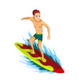summer beach activities guy rides on a surfboard vector image vector image