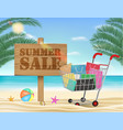 summer sale wood board and shopping cart vector image vector image
