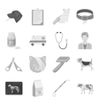 Veterinary clinic set icons in monochrome style vector image