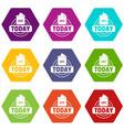vote today icons set 9 vector image vector image
