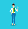 young woman korean showing victory hand gesture vector image