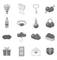 Saint Valentine day icons set monochrome style vector image
