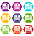 magnetic diskette icon set color hexahedron vector image