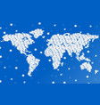 abstract world map of snowflakes vector image