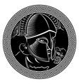 ancient spartan warrior helmet and greek ornament vector image