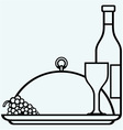 bottles and glasses wine on round tray vector image vector image