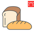 bread color line icon bakery and breakfast loaf vector image vector image