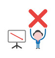 businessman character holding up x mark with vector image vector image