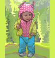 cartoon little baby girl in the jacket and pants