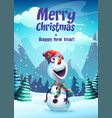 cartoon snowman greeting vector image vector image