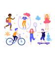 children activities set kids doing sports vector image vector image