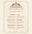Christmas food menu retro typography and ornament vector image vector image