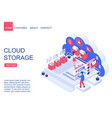 cloud storage isometric landing page vector image