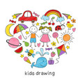colored kids drawings in form of heart vector image