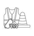 construction equipment and tools black and white vector image vector image