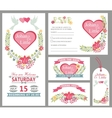 Cute wedding card design template setFloral decor vector image vector image