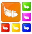 daily belt icons set color vector image vector image