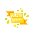 fiesta original logo label with ribbon for a vector image vector image