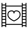 film strip with heart line icon cinema vector image
