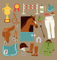 flat color jockey icons set with equipment for vector image