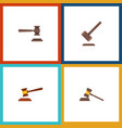 flat icon hammer set of hammer legal tribunal vector image vector image
