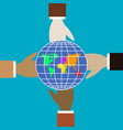 four hands of different colors hold the globe vector image