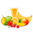 Fresh color fruit and juice vector image