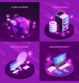 global network isometric design concept vector image vector image