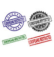 grunge textured europeans restricted seal stamps vector image vector image