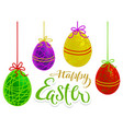 happy easter hand written calligraphy text for vector image vector image