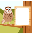 happy owl on tree flat background vector image vector image