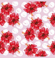 hibiscus seamless pattern pink background vector image vector image