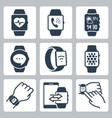 icon set smart watches in glyph style vector image vector image